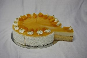 Mango coconut cake cut